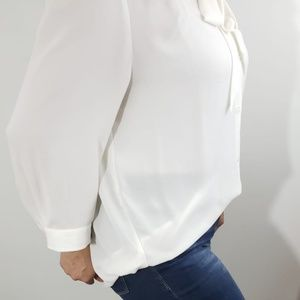 Ann Taylor LOFT Blouse Tie neck 3/4 sleeve white